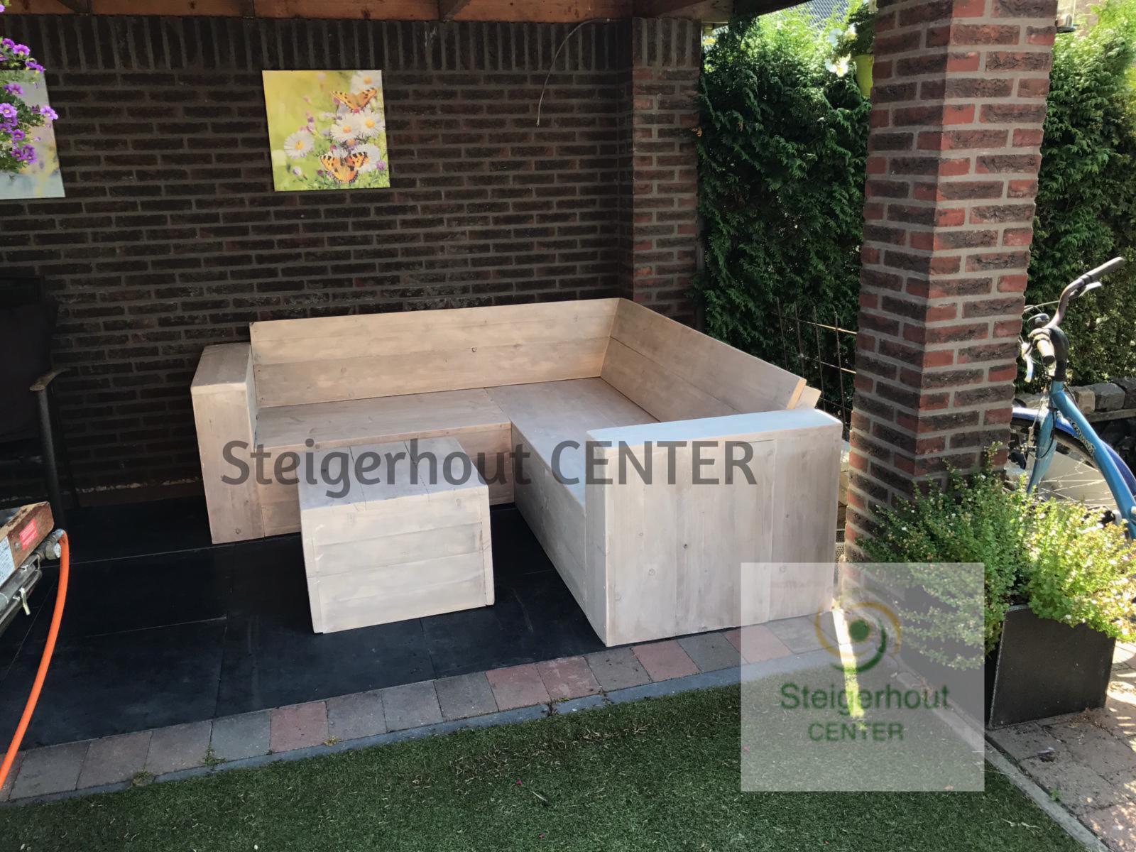 Luxe Steigerhouten Loungeset.Luxe Steigerhouten Hoekbank Gent
